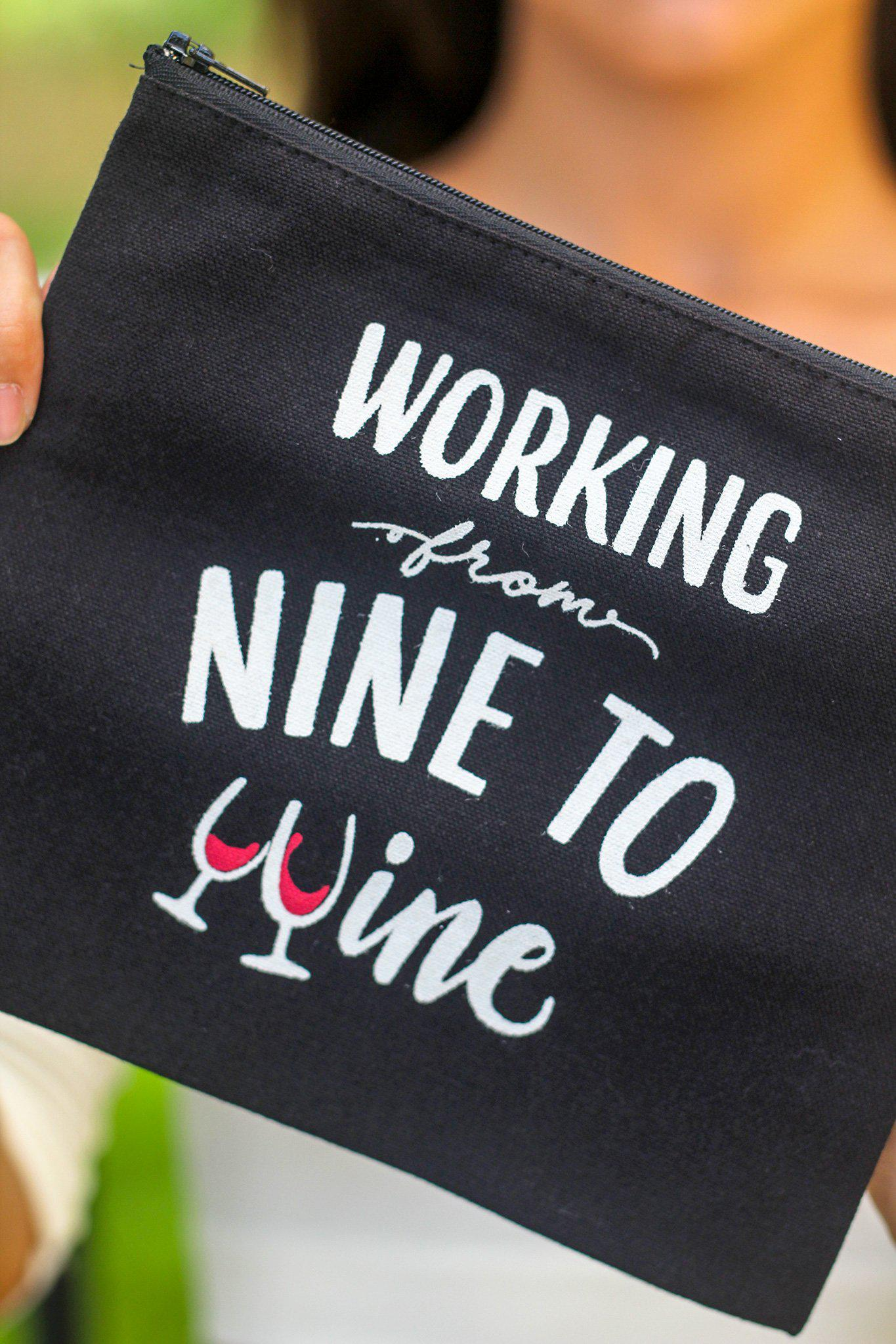 Black Working From Nine to Wine Makeup Bag