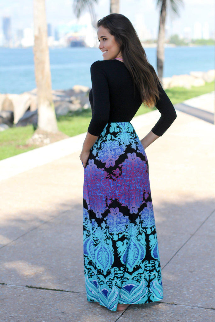 Black and Aqua Printed Maxi Dress with 34 Sleeves