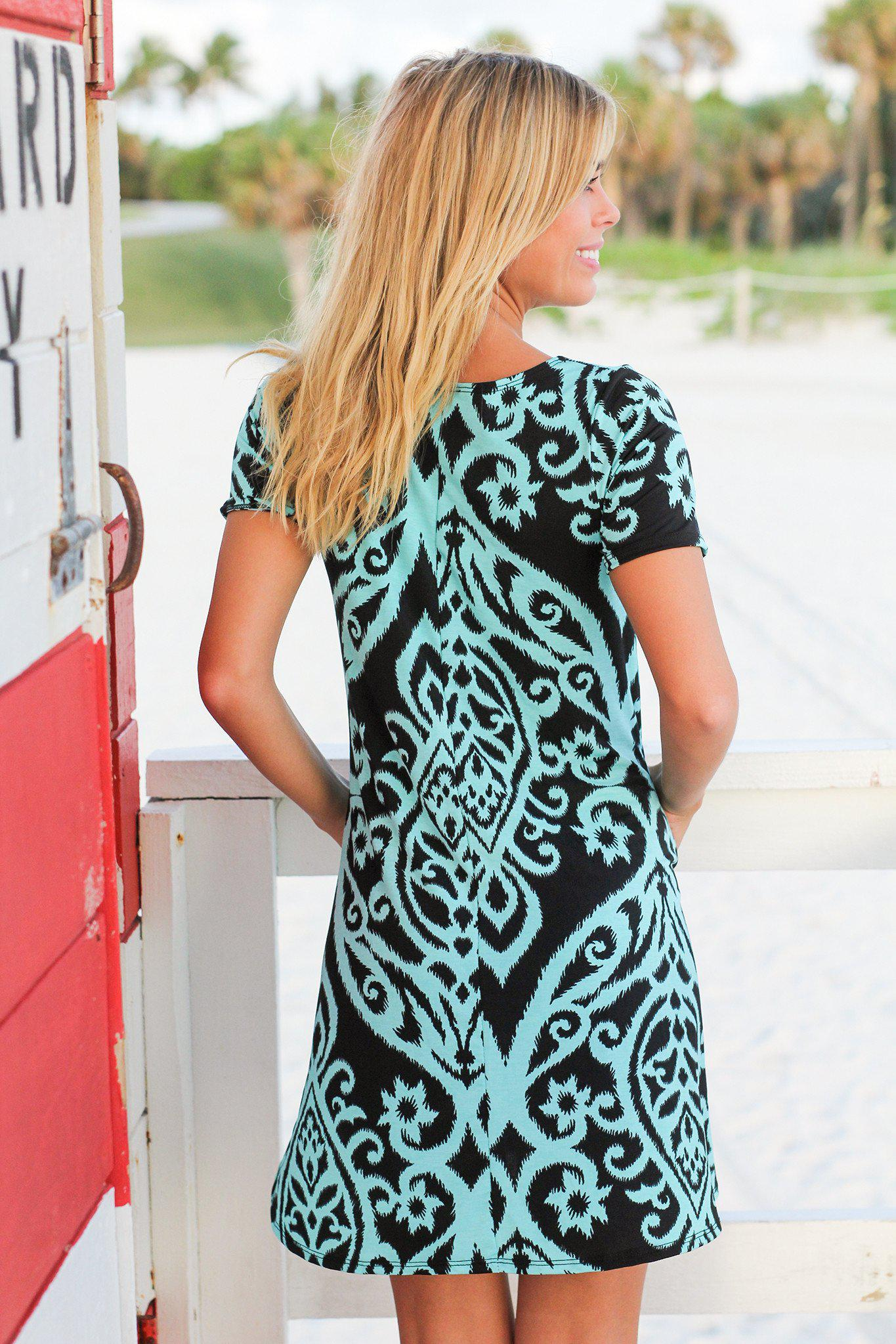 Black and Aqua Printed Swing Dress
