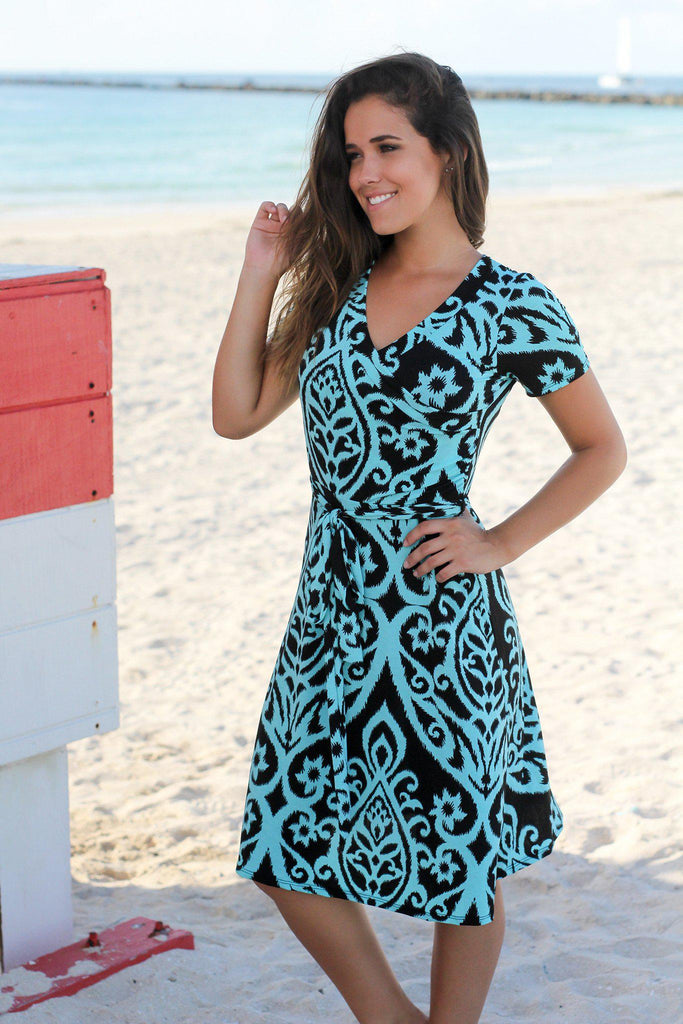 Black and Aqua Printed Wrap Short Dress
