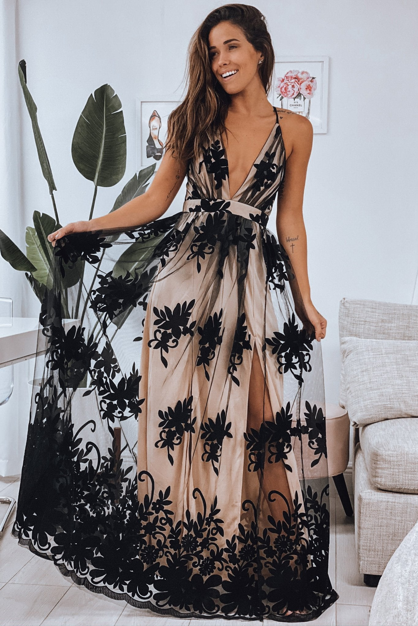 Black and Beige Floral Tulle Maxi Dress with Criss Cross Back
