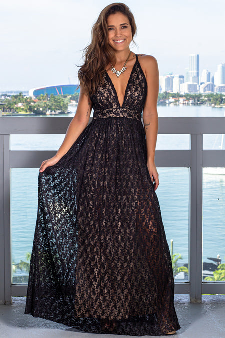 Black and Beige Lace Maxi Dress