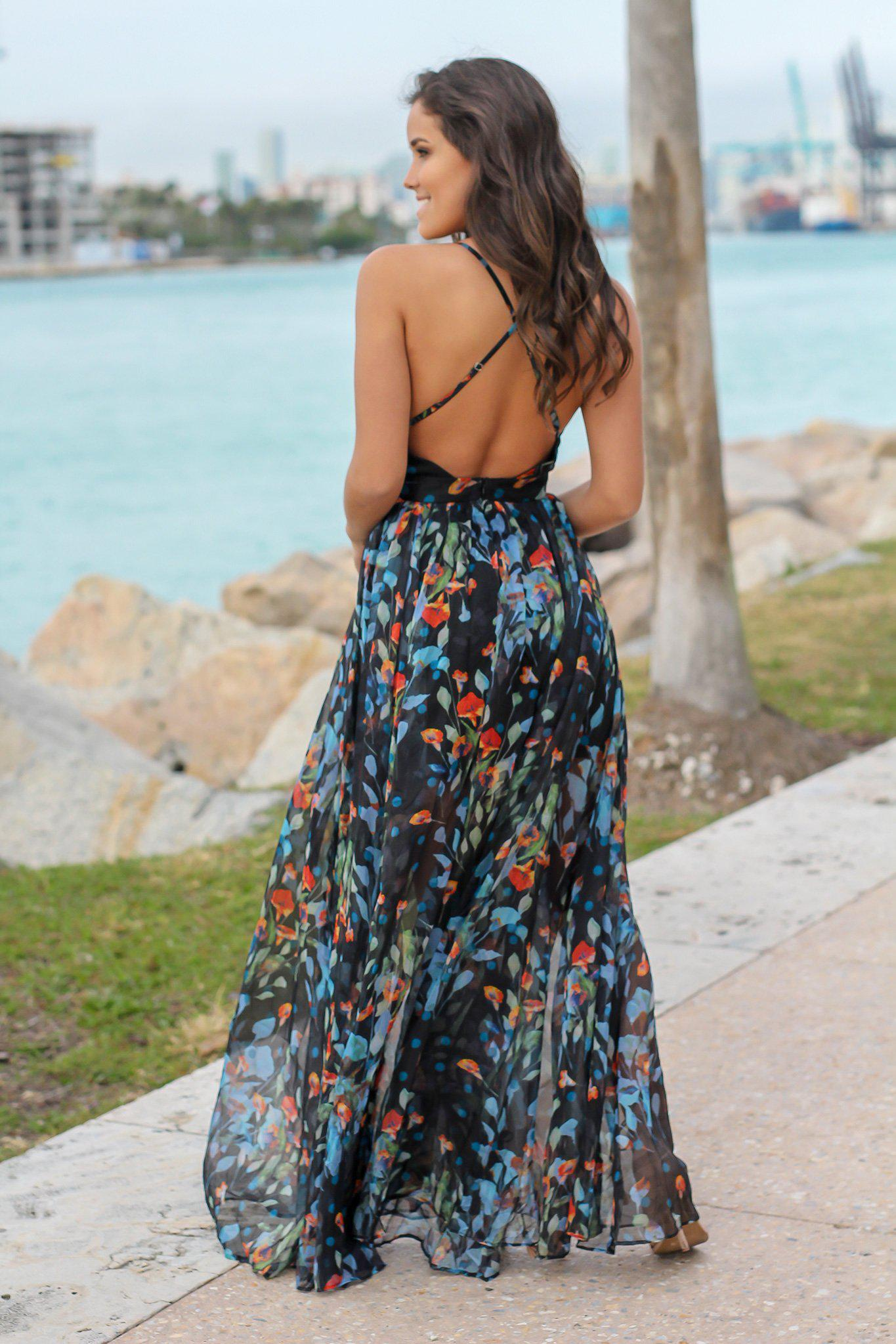 Black and Blue Floral Maxi Dress with Criss Cross Back