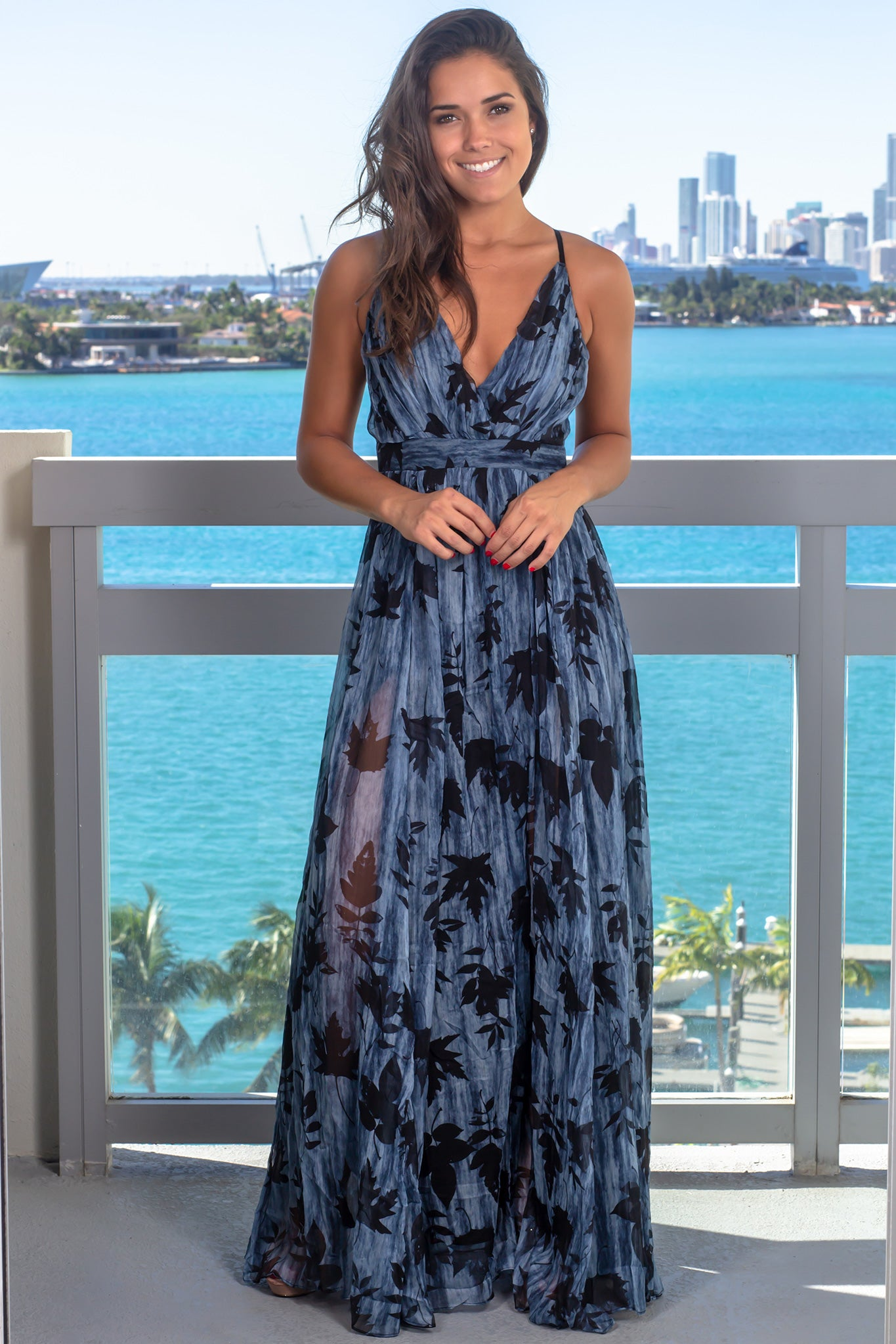 Black and Blue Printed Maxi Dress