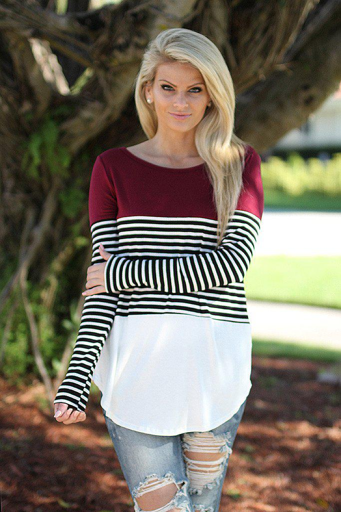 black and burgundy top