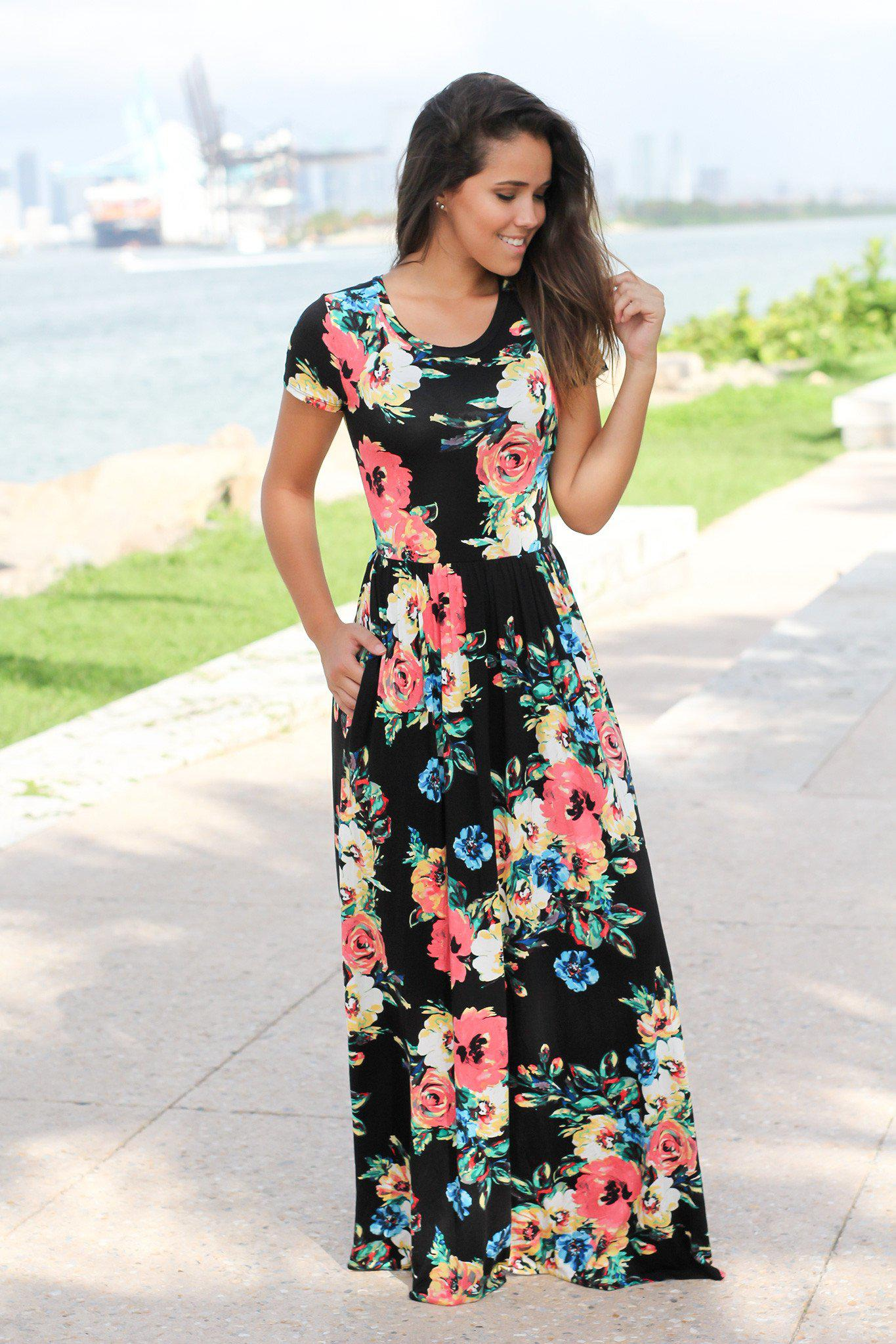 Black and Coral Short Sleeve Maxi Dress with pockets