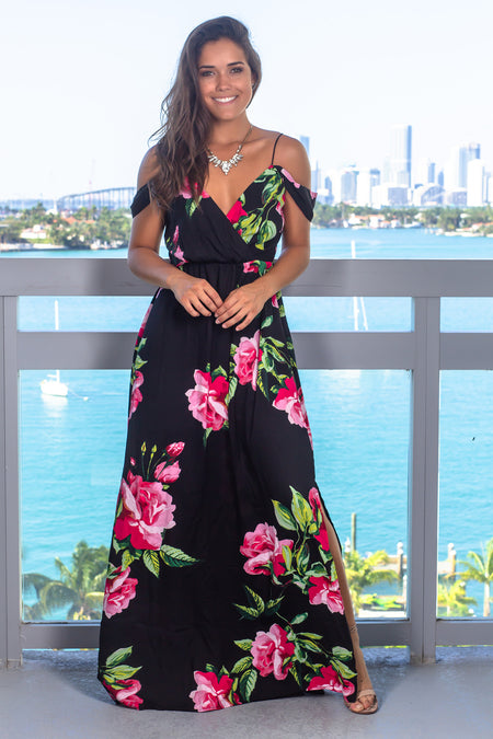 Black and Fuchsia Floral Maxi Dress