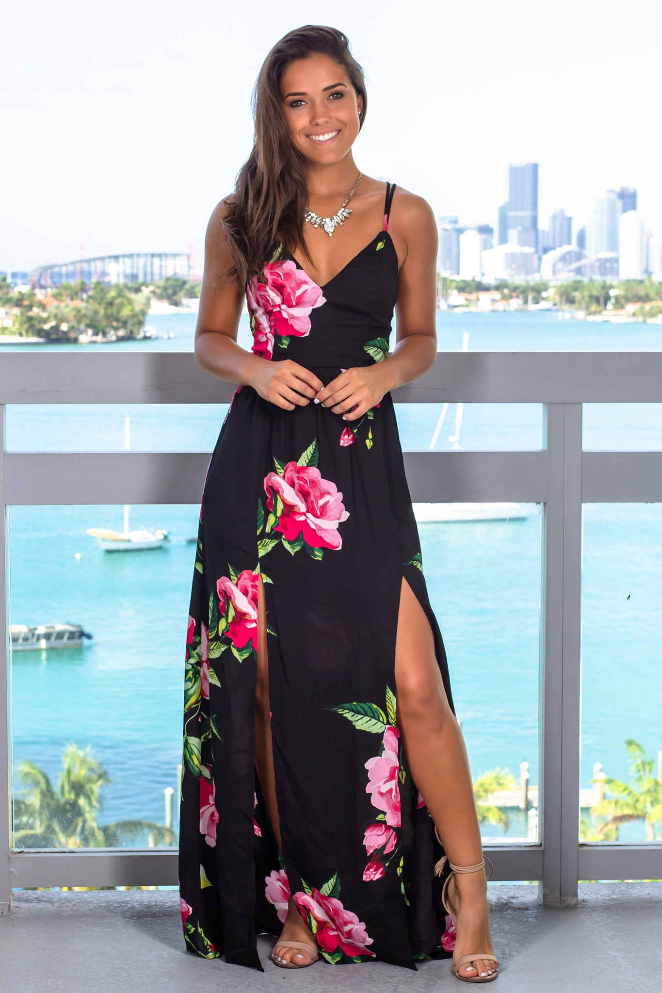 Black and Fuchsia Floral Maxi Dress with Slits