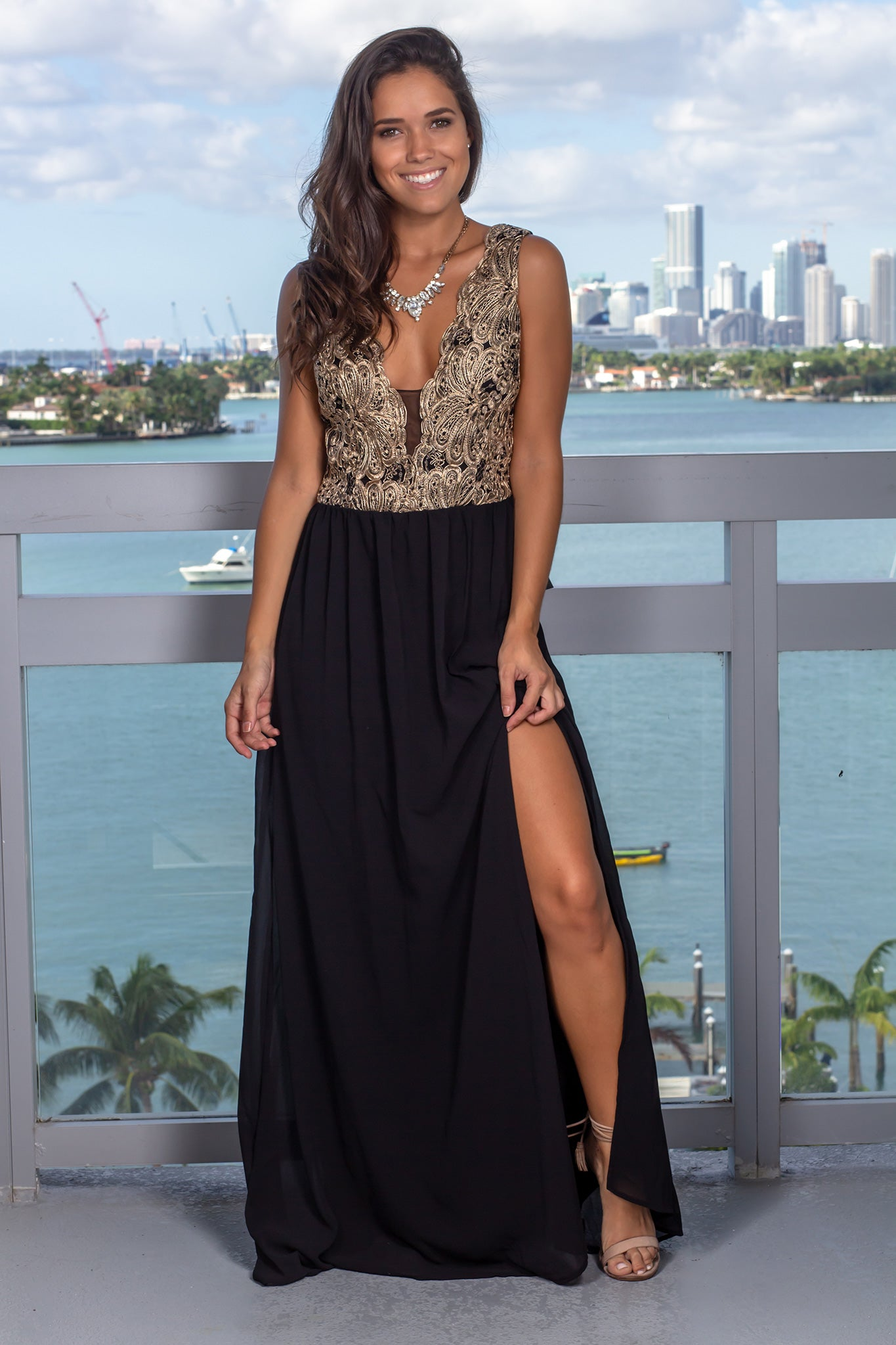 Black and Gold Embroidered Top Maxi Dress