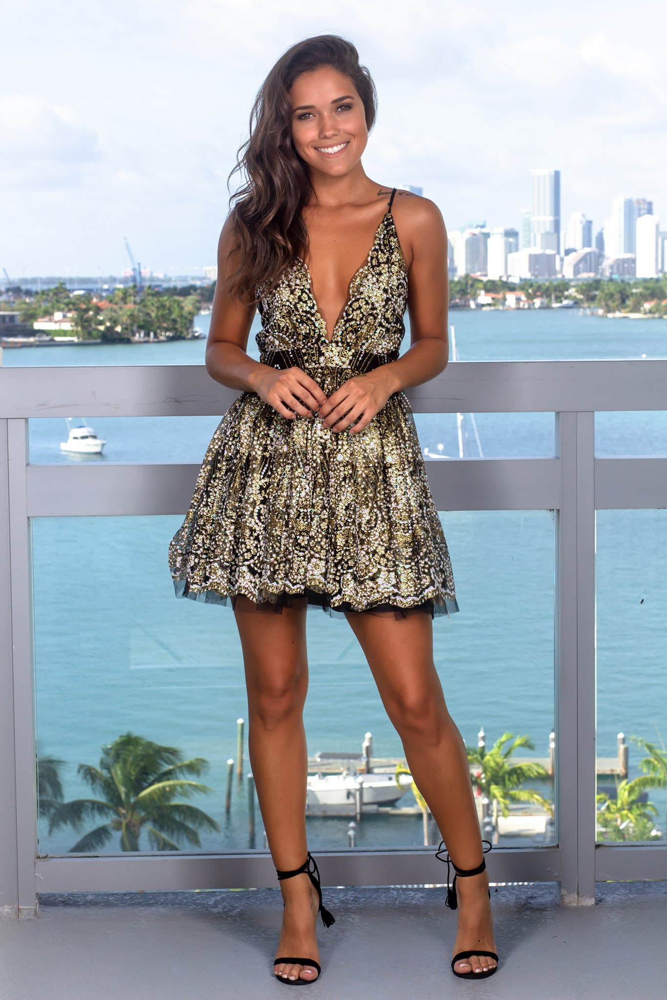 Black and Gold Glitter Short Dress