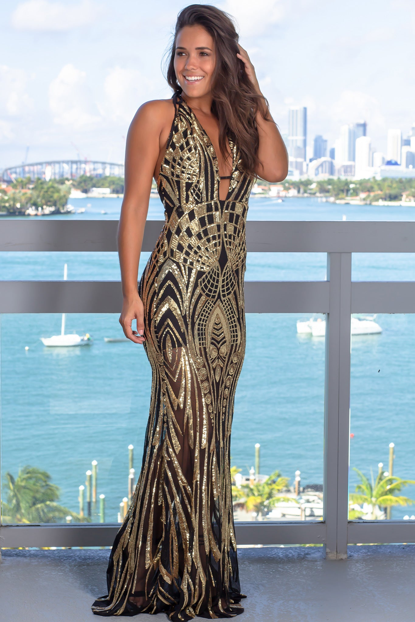 Black and Gold Halter Neck Maxi Dress