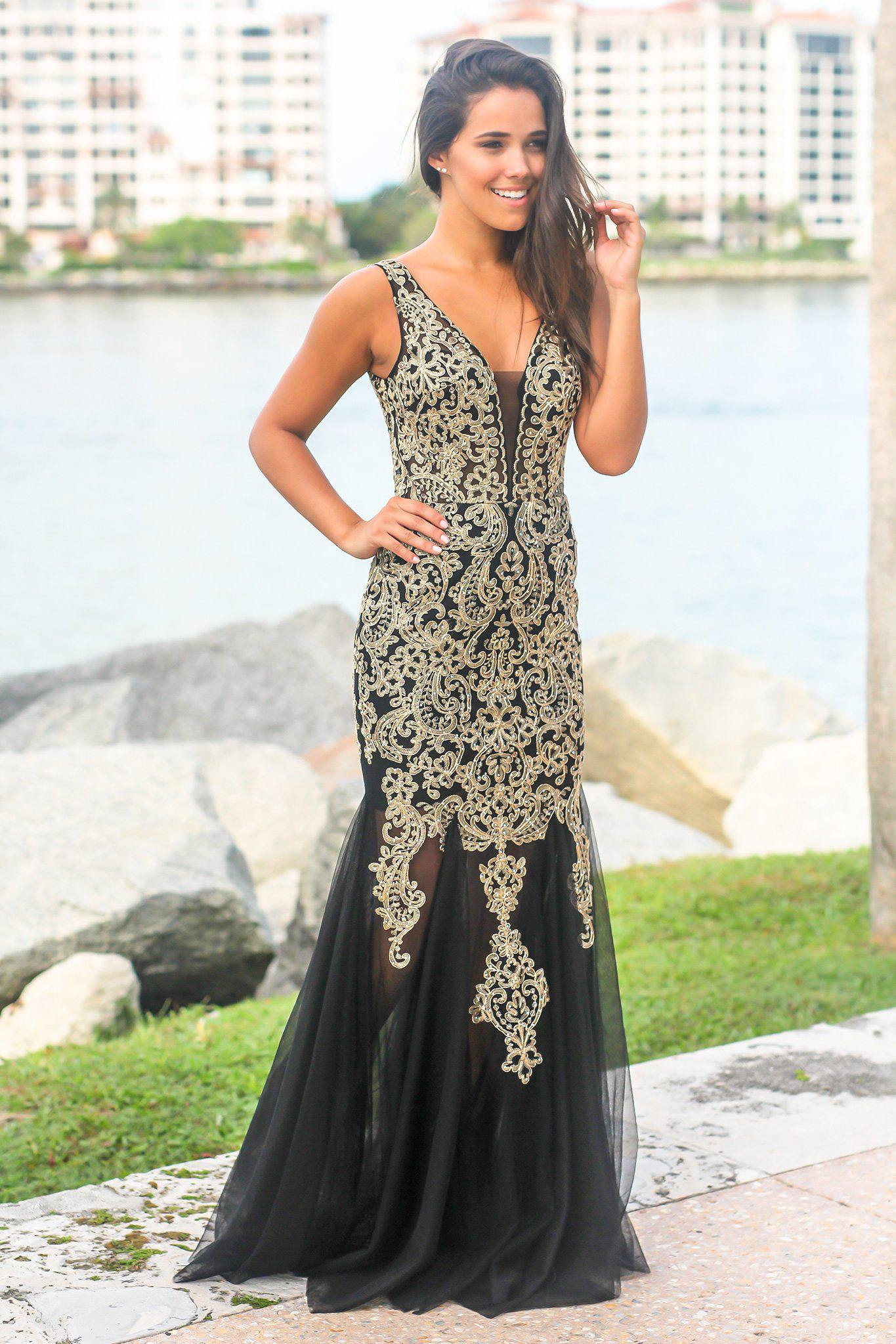 13c779270d1 Black and Gold Lace Maxi Dress with Tulle Detail