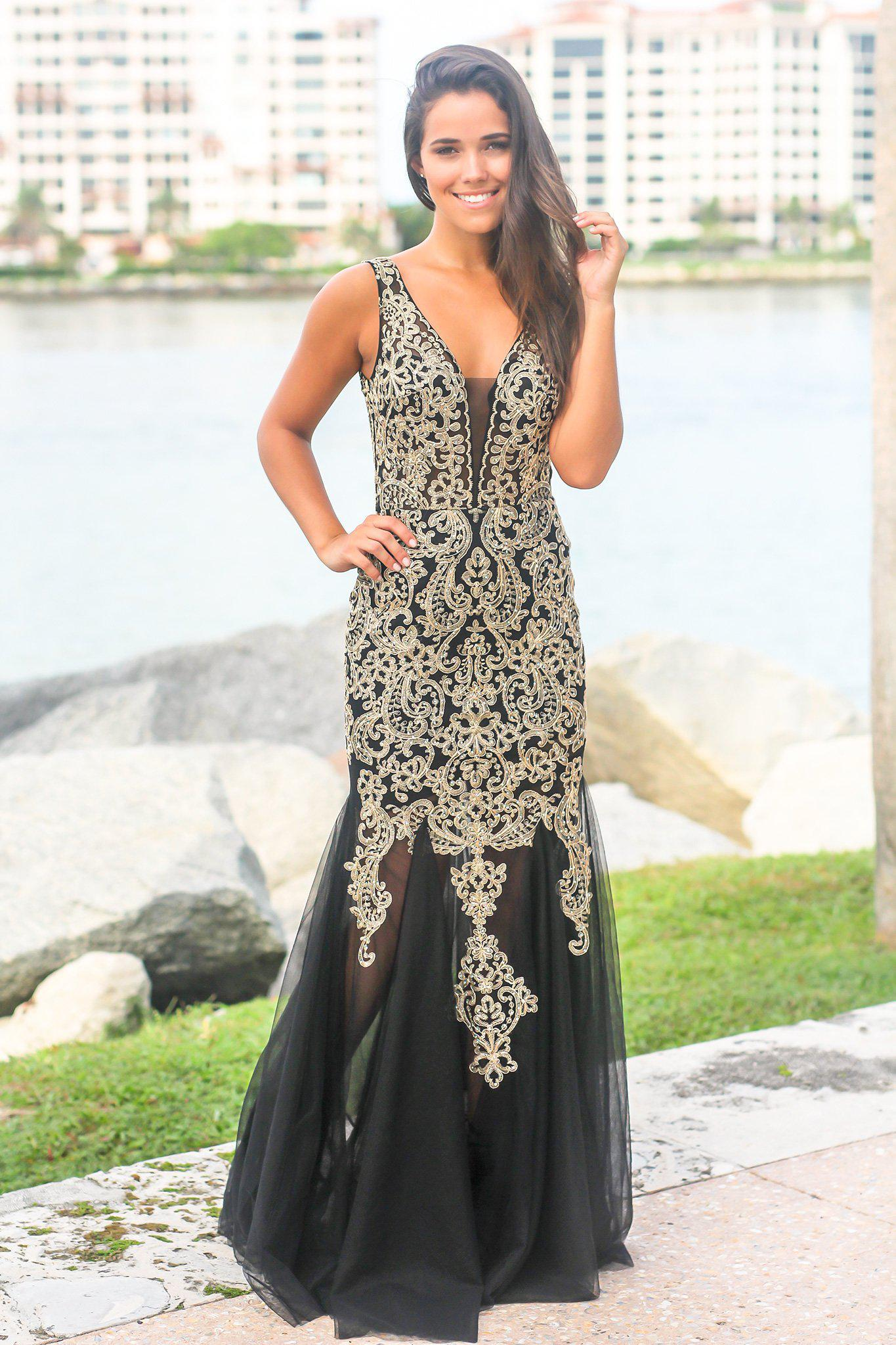 Black and Gold Lace Maxi Dress with Tulle Detail