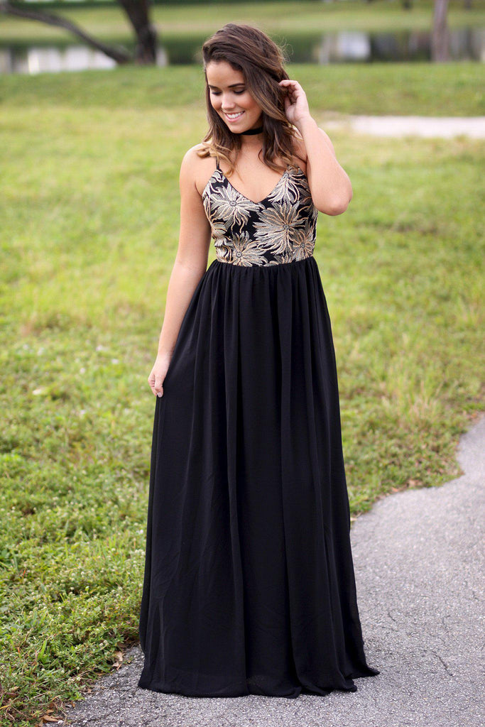 black and gold maxi dress with crochet back