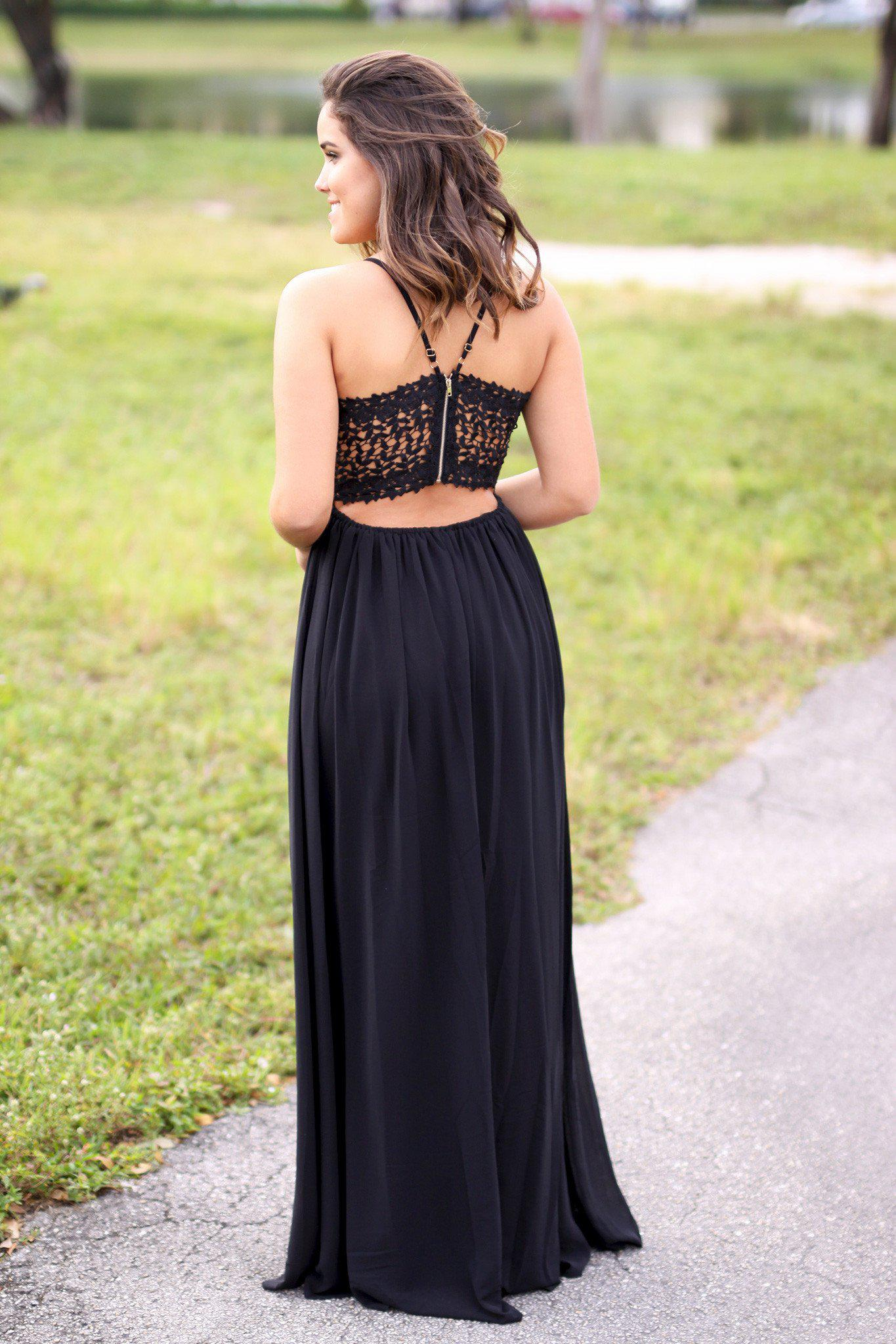 black open back crochet maxi dress