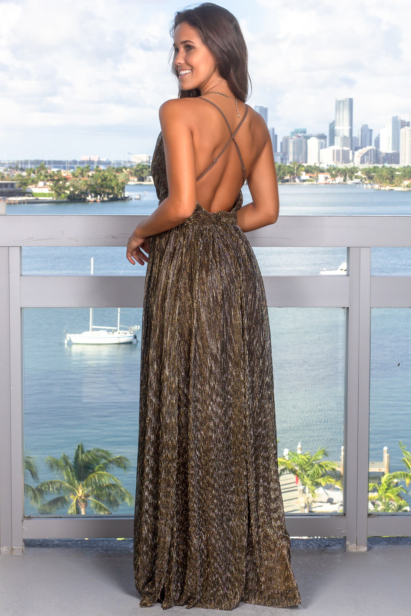 Black and Gold Maxi Dress with Shimmer Detail