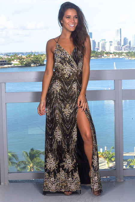 Black and Gold Printed Maxi Dress