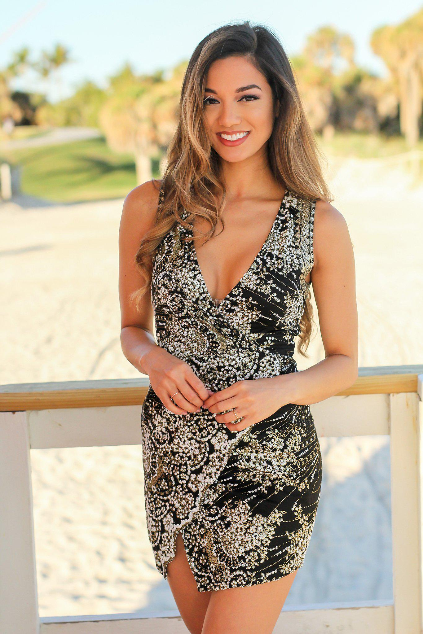 Black and Gold Sleeveless Short Dress