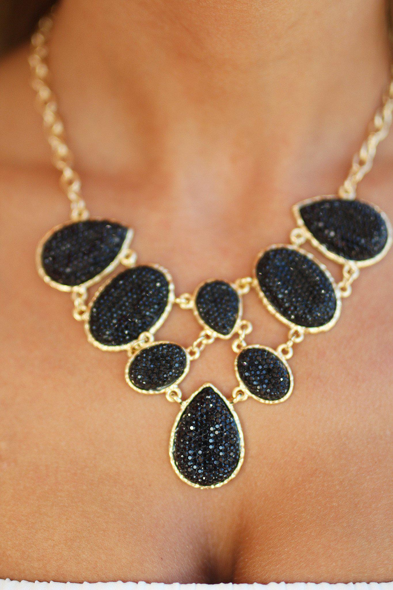 Black and Gold Stone Necklace