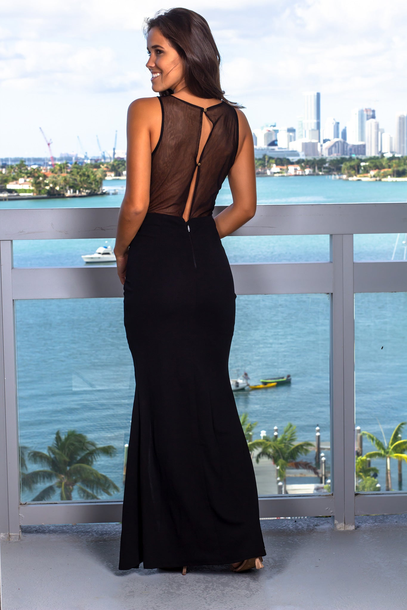 Black and Gold Top Maxi Dress with Side Slit