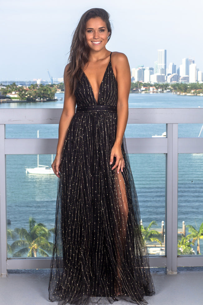 Black and Gold Tulle Maxi Dress