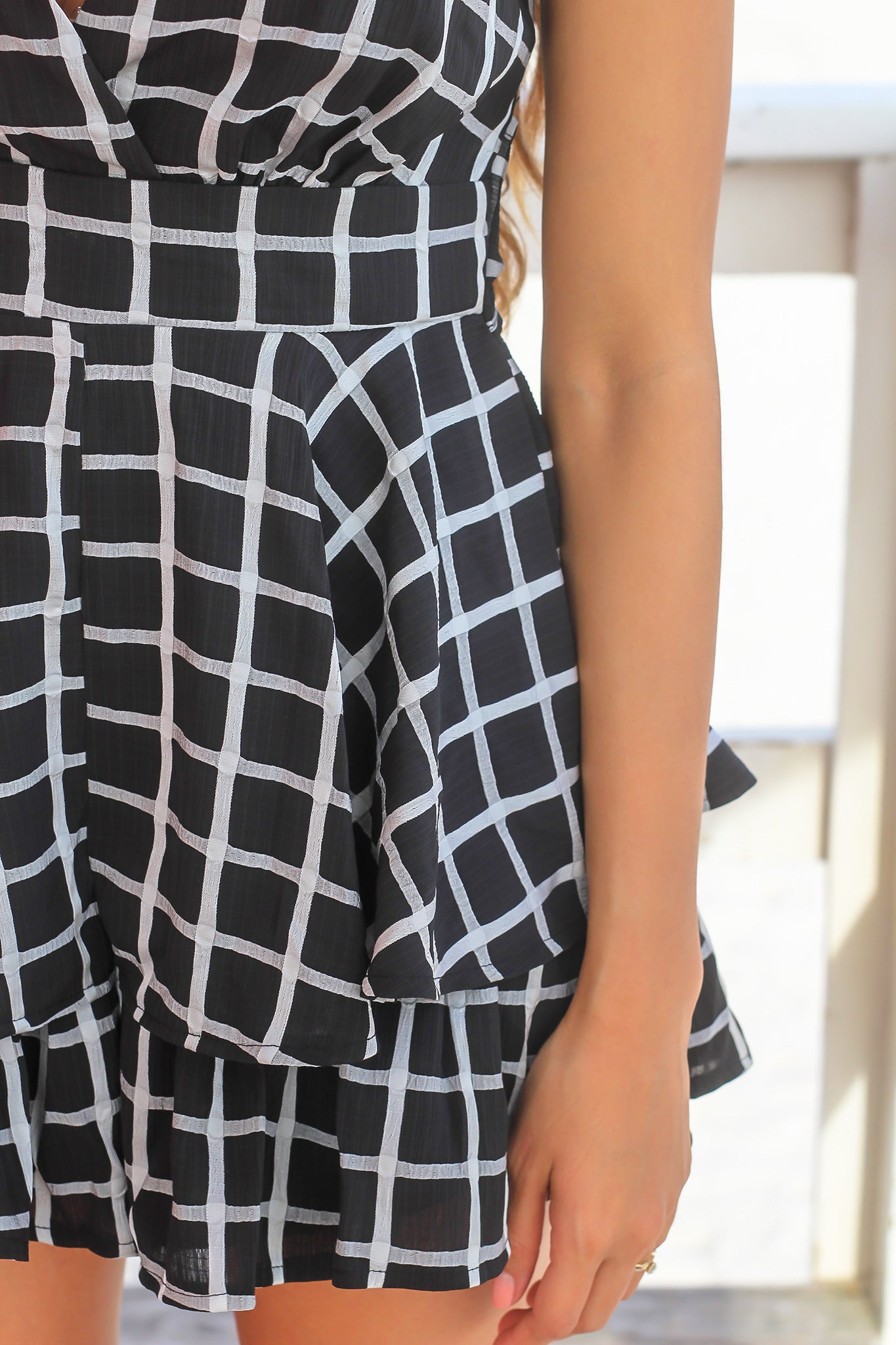 Black and Gray Checkered Romper