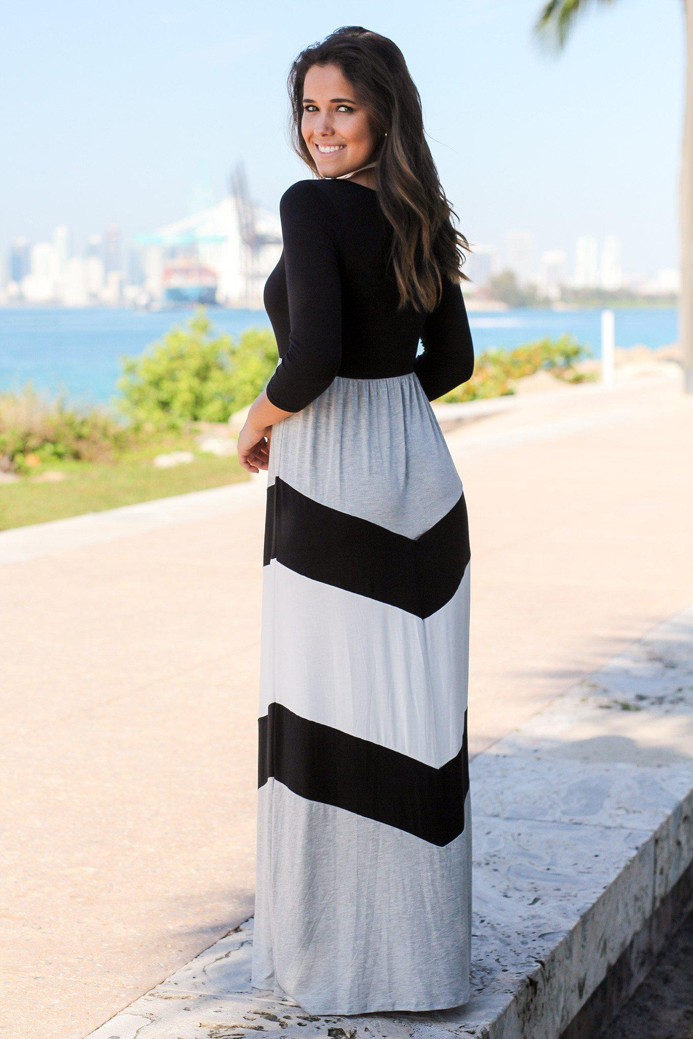 Black and Gray Maxi Dress with 3/4 Sleeves