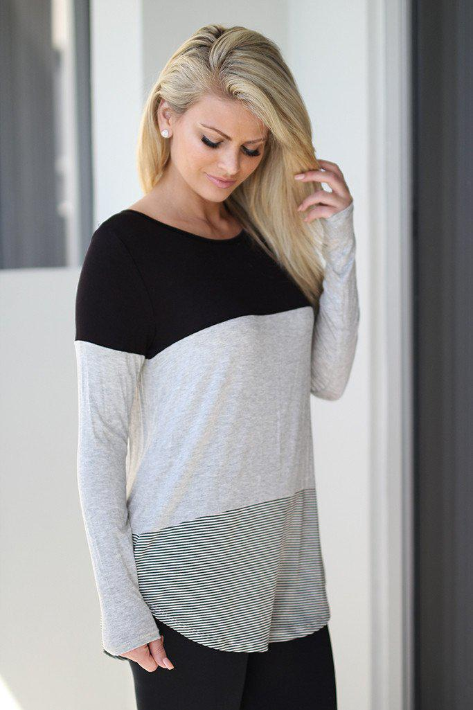 Black and Gray Color Block Top with Crochet Back