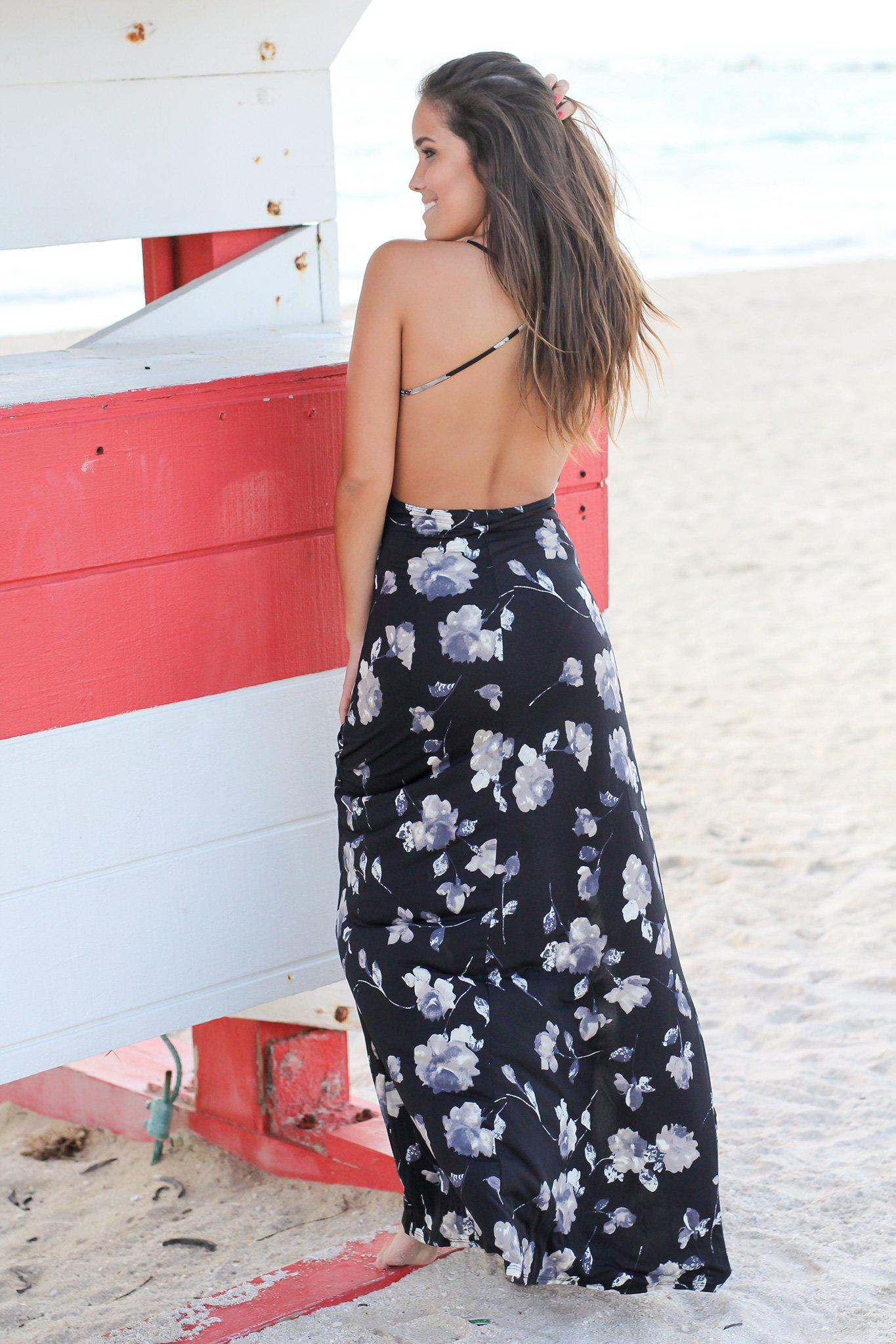 Black and Gray Floral Maxi Dress with Criss Cross Back