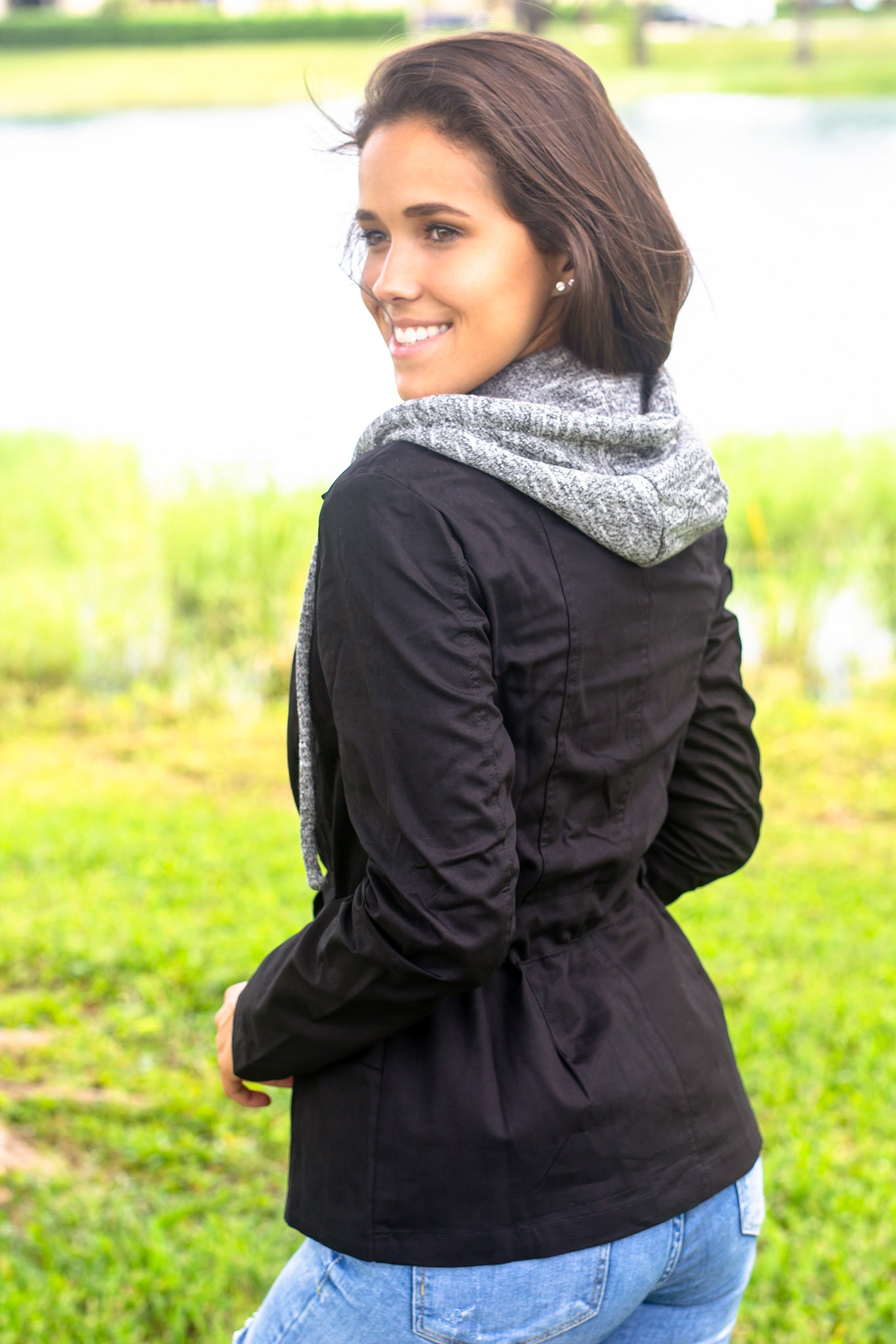Black and Gray Hooded Jacket