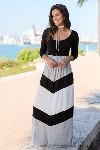 Black and Gray Chevron Maxi Dress with 3/4 Sleeves