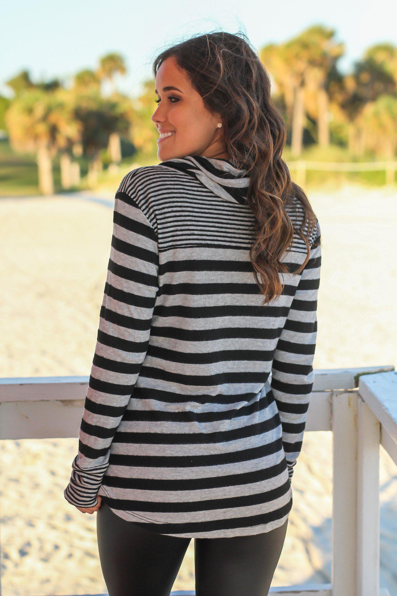 Black and Gray Striped Cowl Neck Top