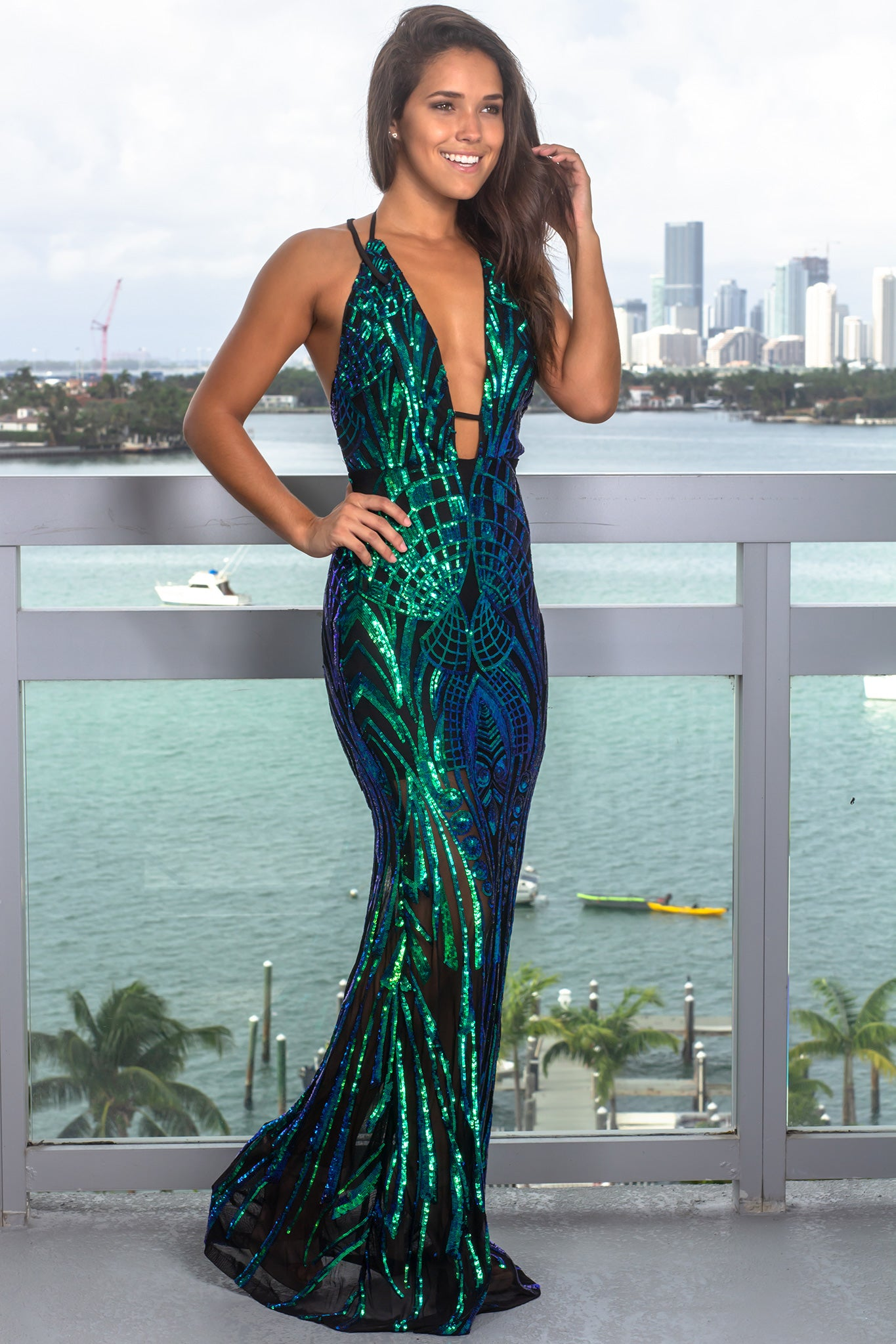Black and Green Halter Neck Sequin Maxi Dress