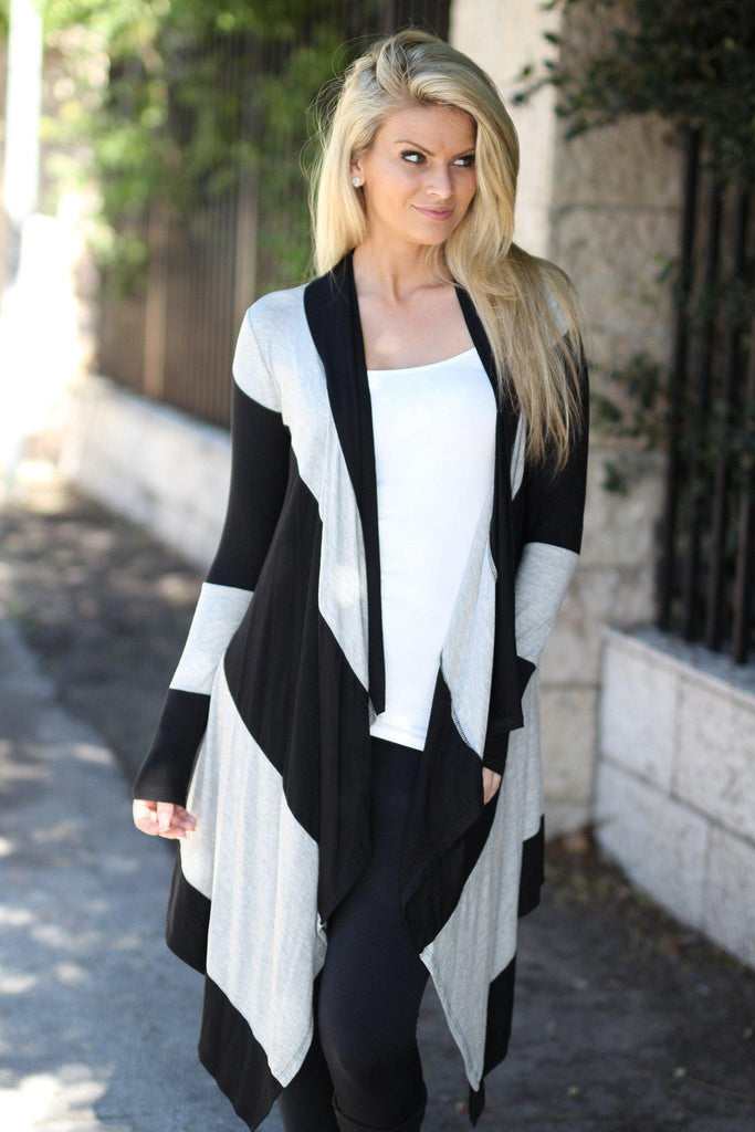 black and gray open front cardigan