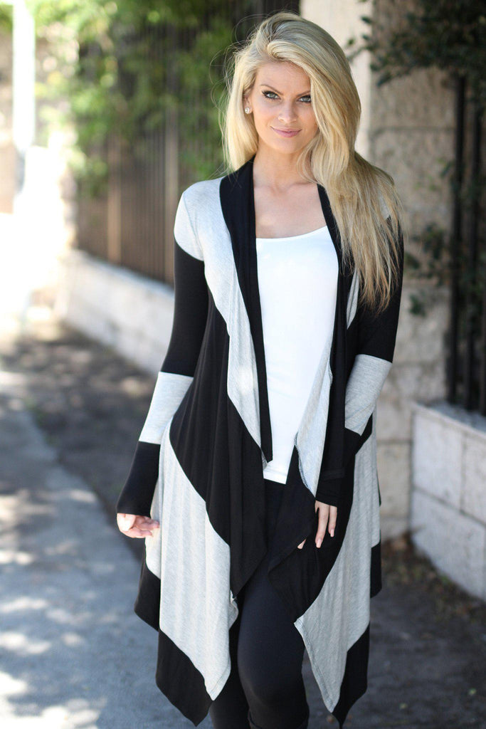 black and gray cardigan
