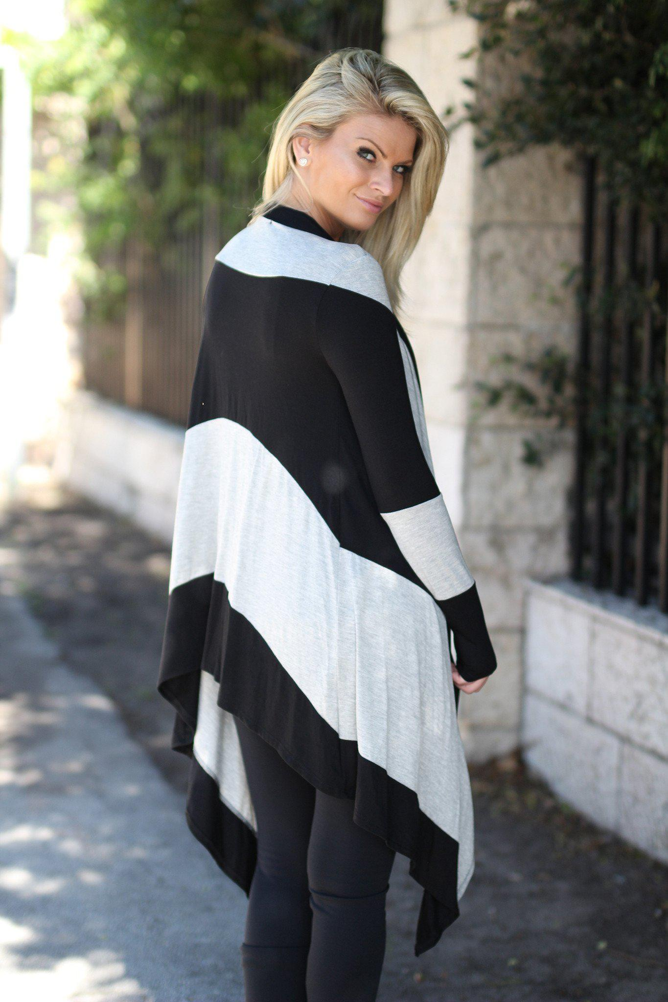 Black and Gray Color Block Cardigan