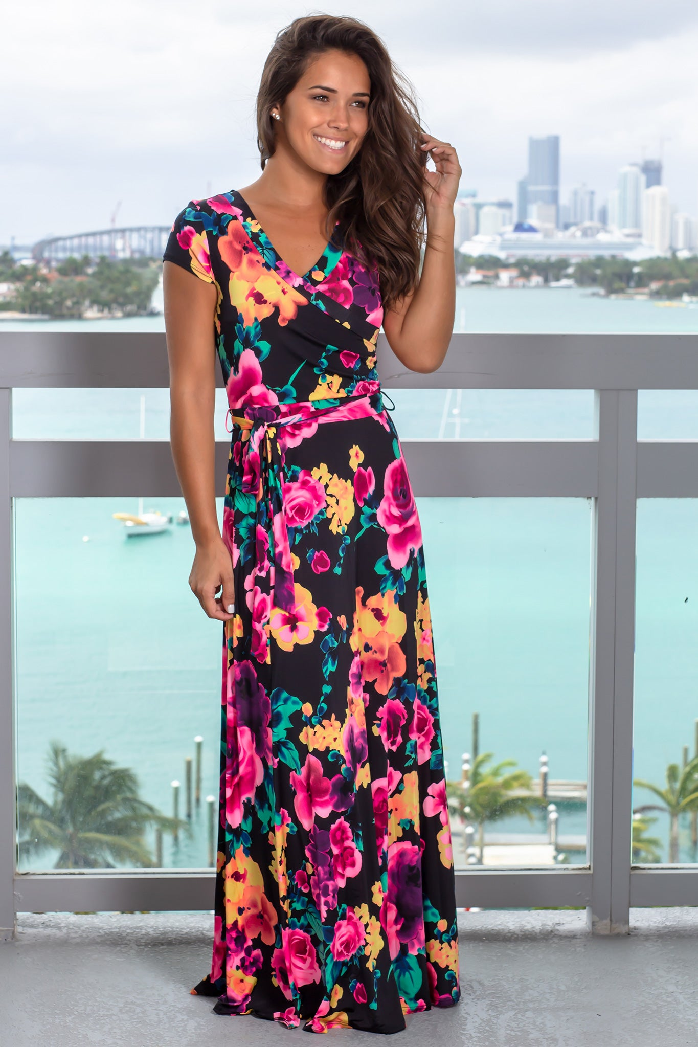 9ff8b33756ec Black and Hot Pink Floral Wrap Maxi Dress   Maxi Dresses – Saved by the  Dress