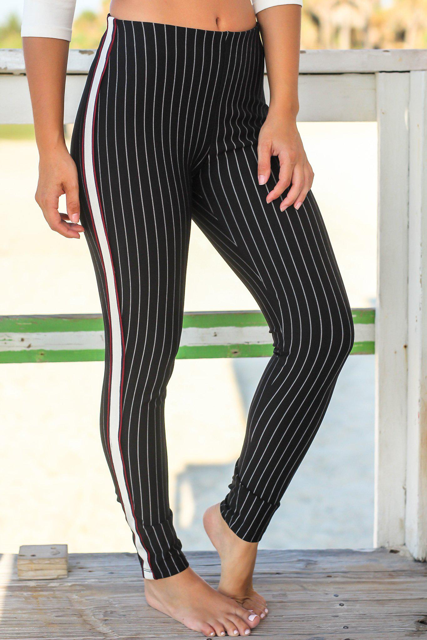 Black and Ivory Striped Pants