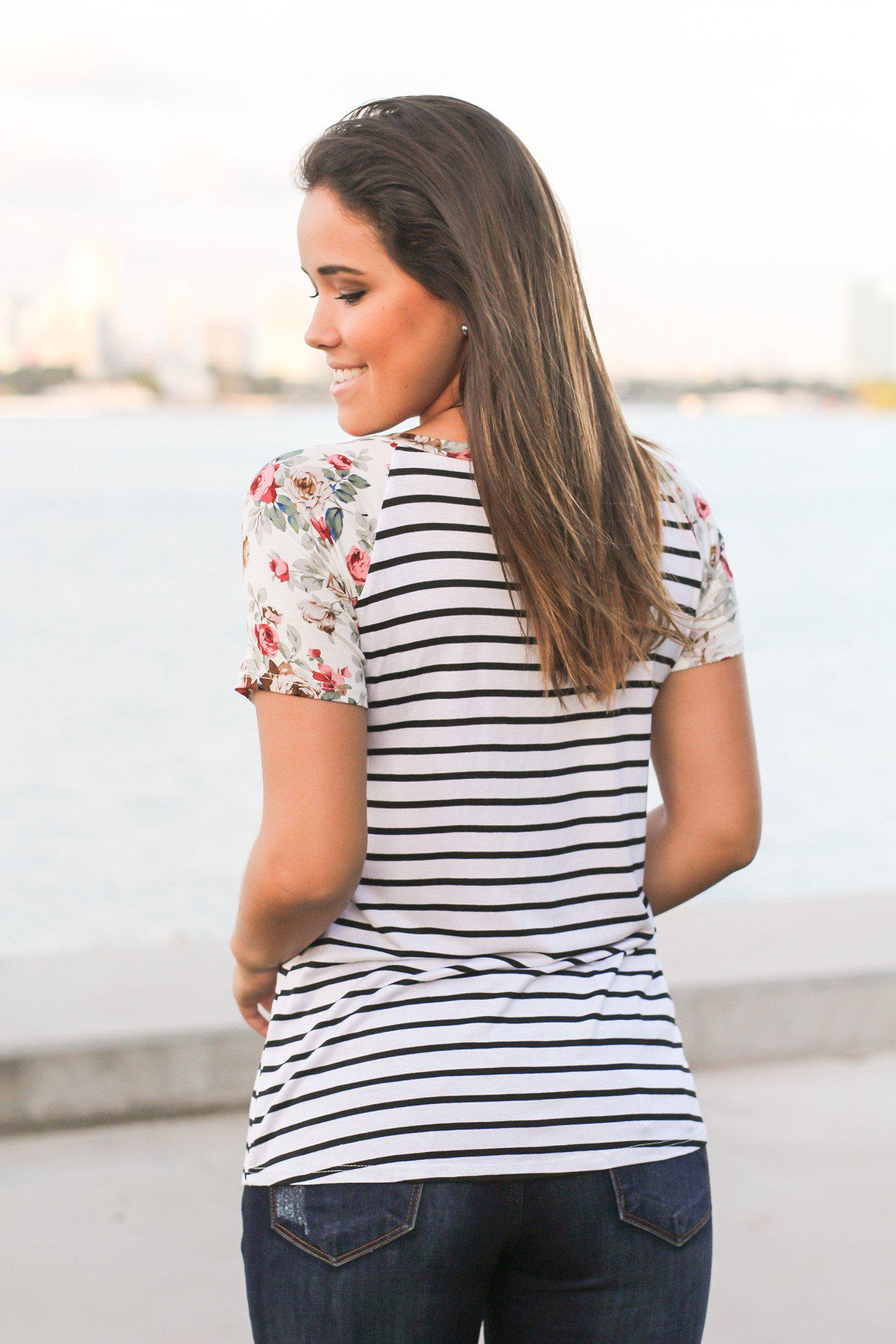 Black and Ivory Striped Top with Floral Sleeves