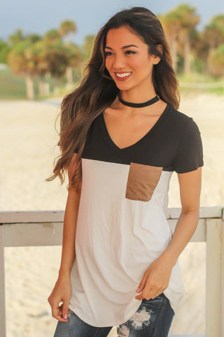 Black and Ivory Top with Suede Pocket