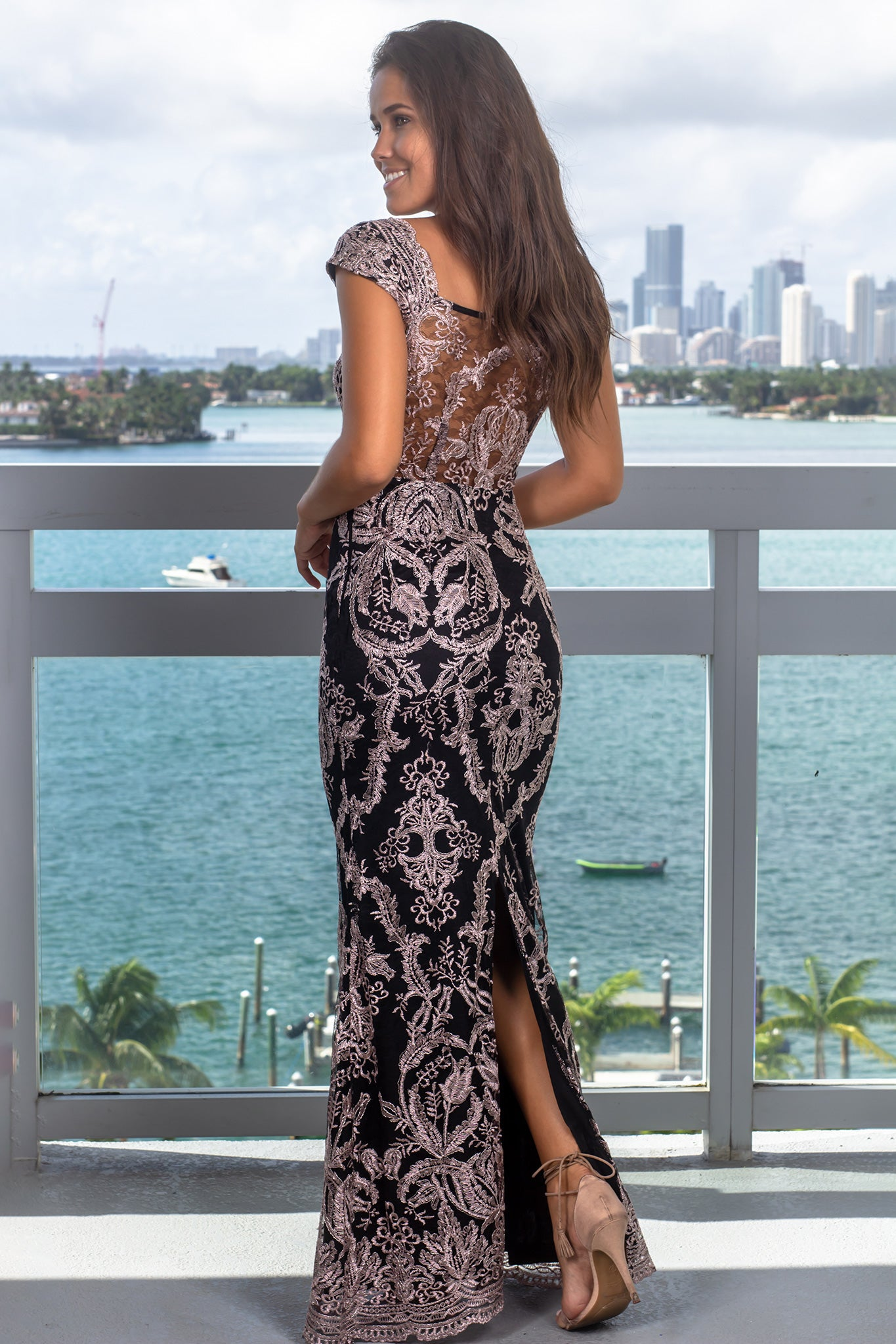 Black and Mauve Embroidered Maxi Dress