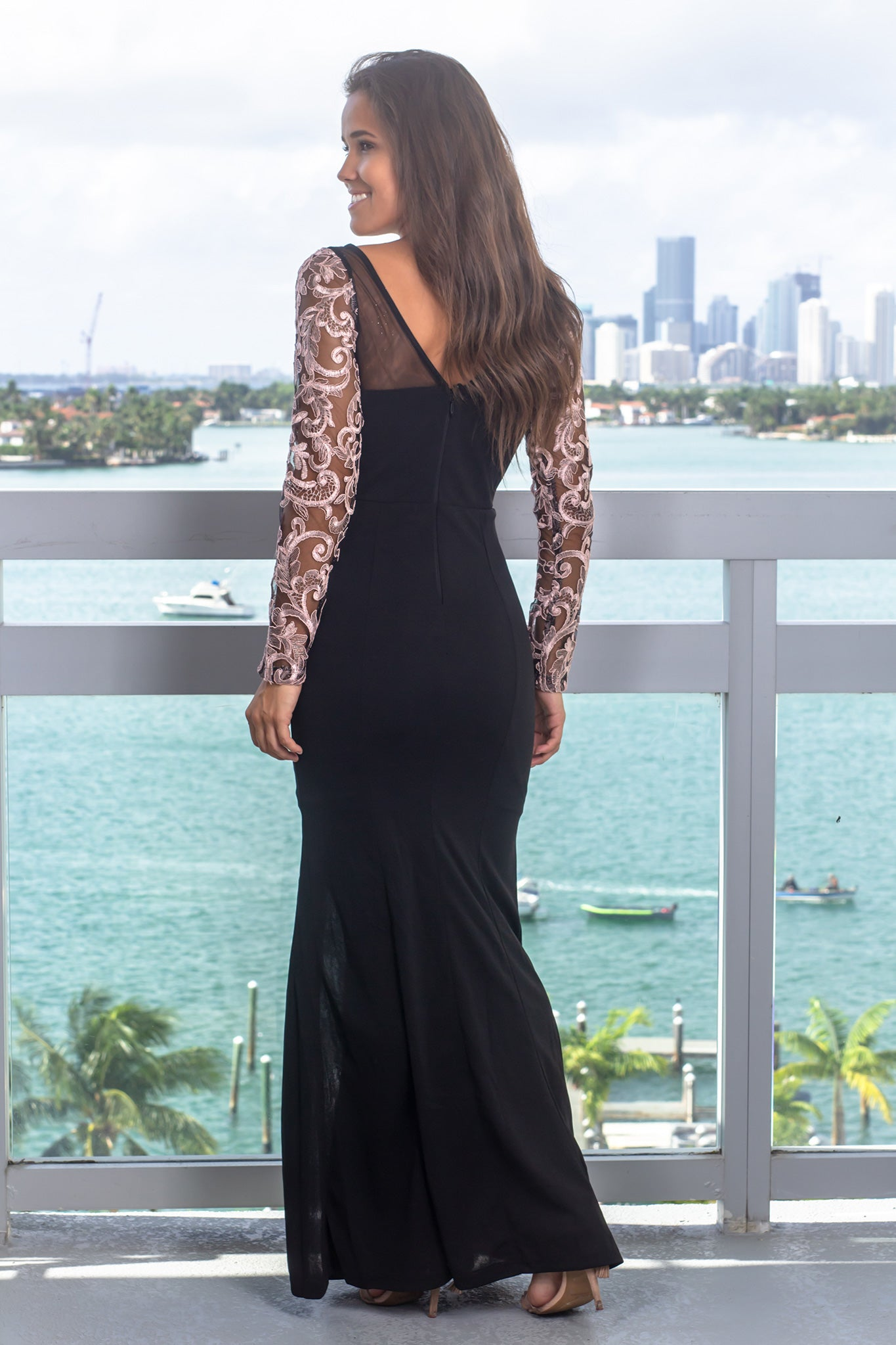 Black and Mauve Embroidered Maxi Dress with Jewel Detail