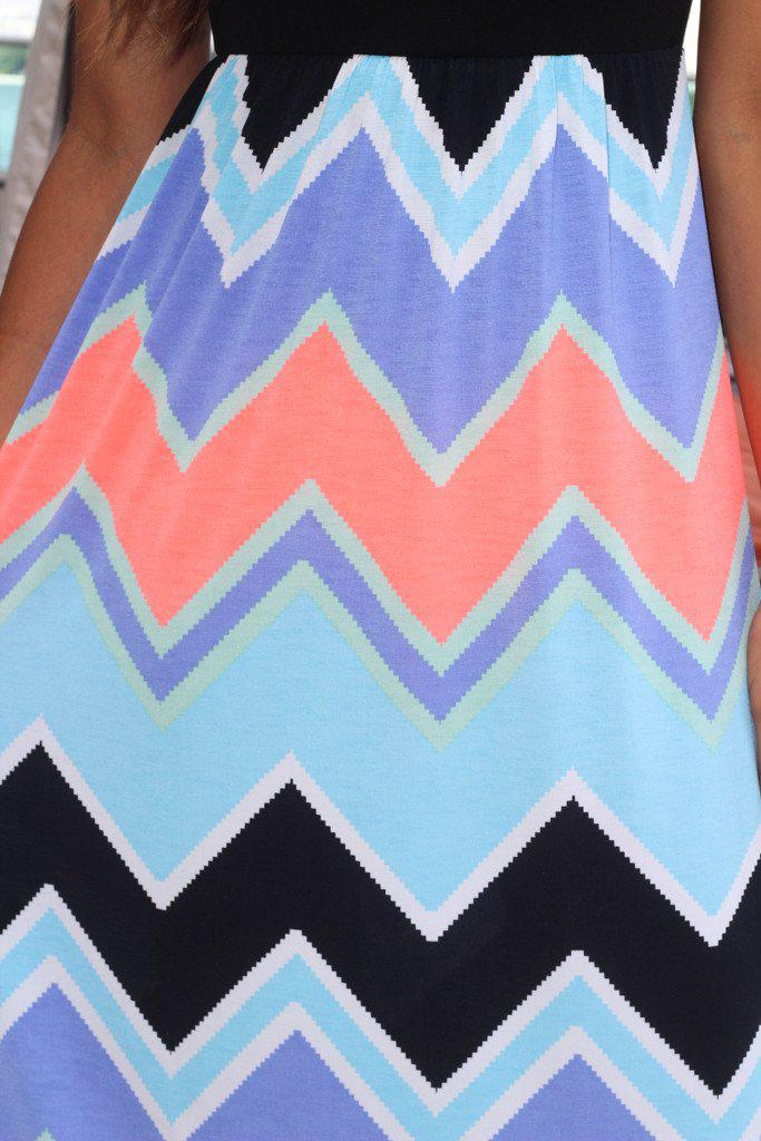 Black and Neon Coral Chevron Maxi Dress