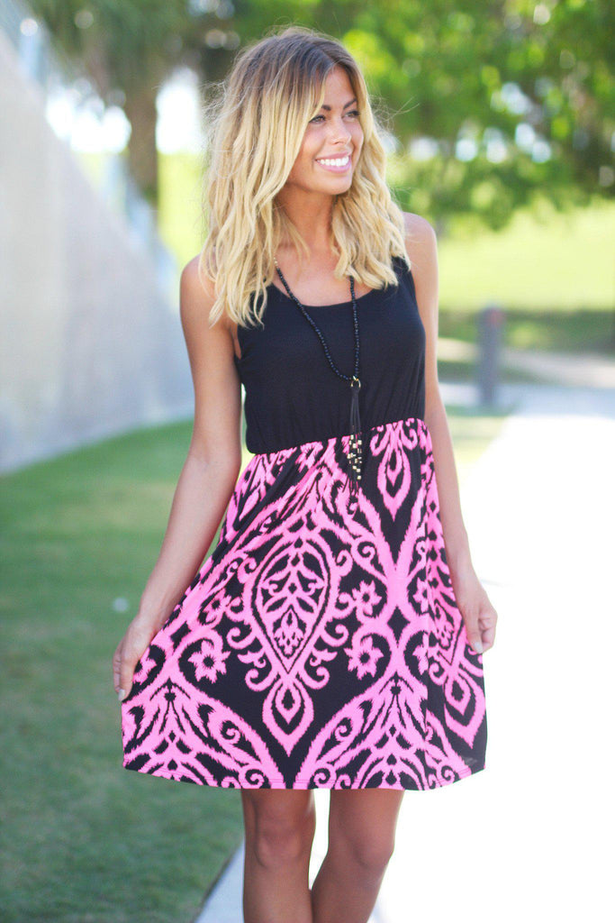 Black and Neon Pink Short Dress