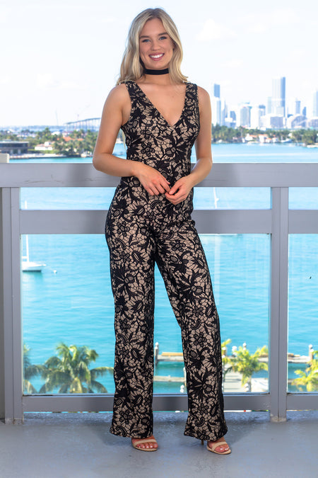 Black and Nude Embroidered Jumpsuit
