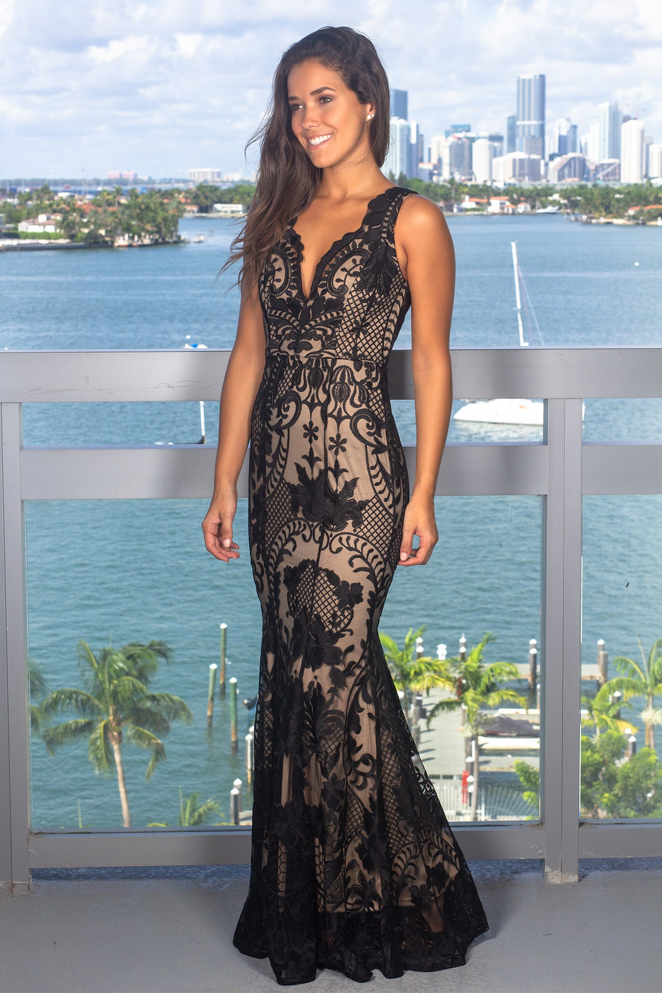 Black and Nude Embroidered Maxi Dress