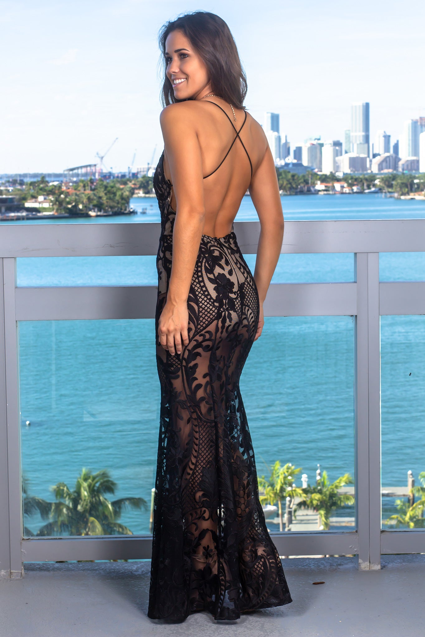 Black and Nude Embroidered Maxi Dress with Open Back