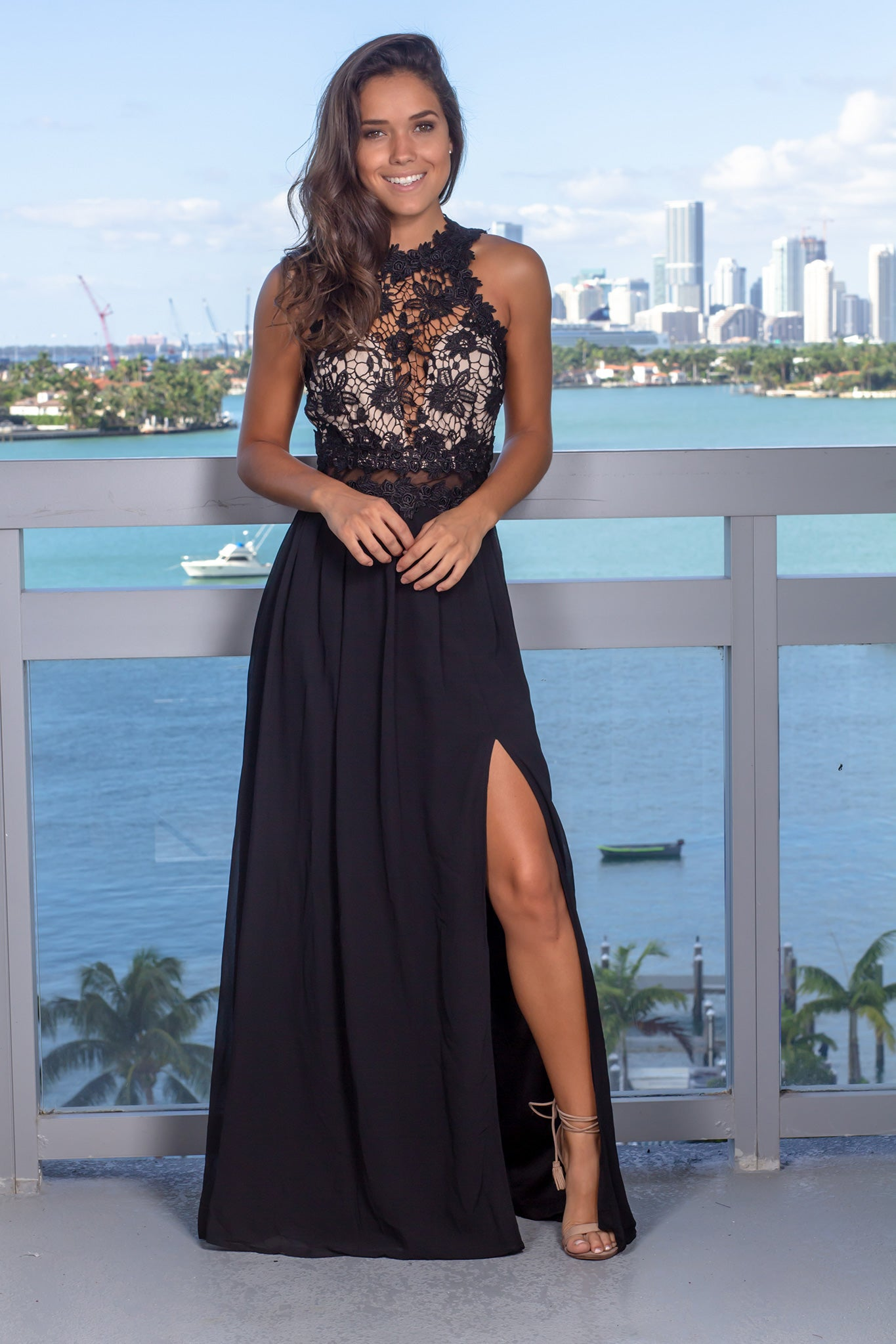 Black and Nude Embroidered Top Maxi Dress with Open Back