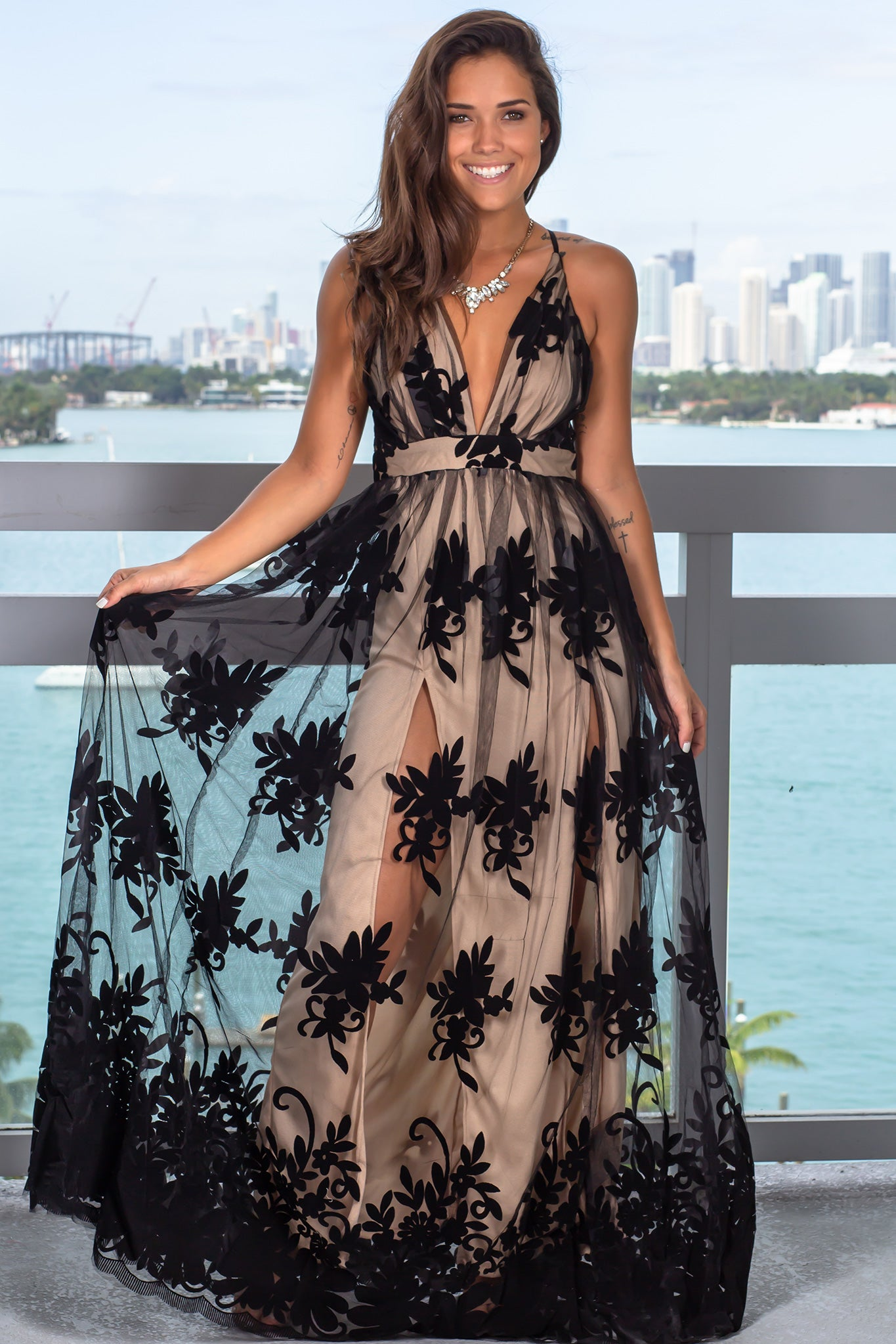 Black and Nude Floral Tulle Maxi Dress with Criss Cross Back