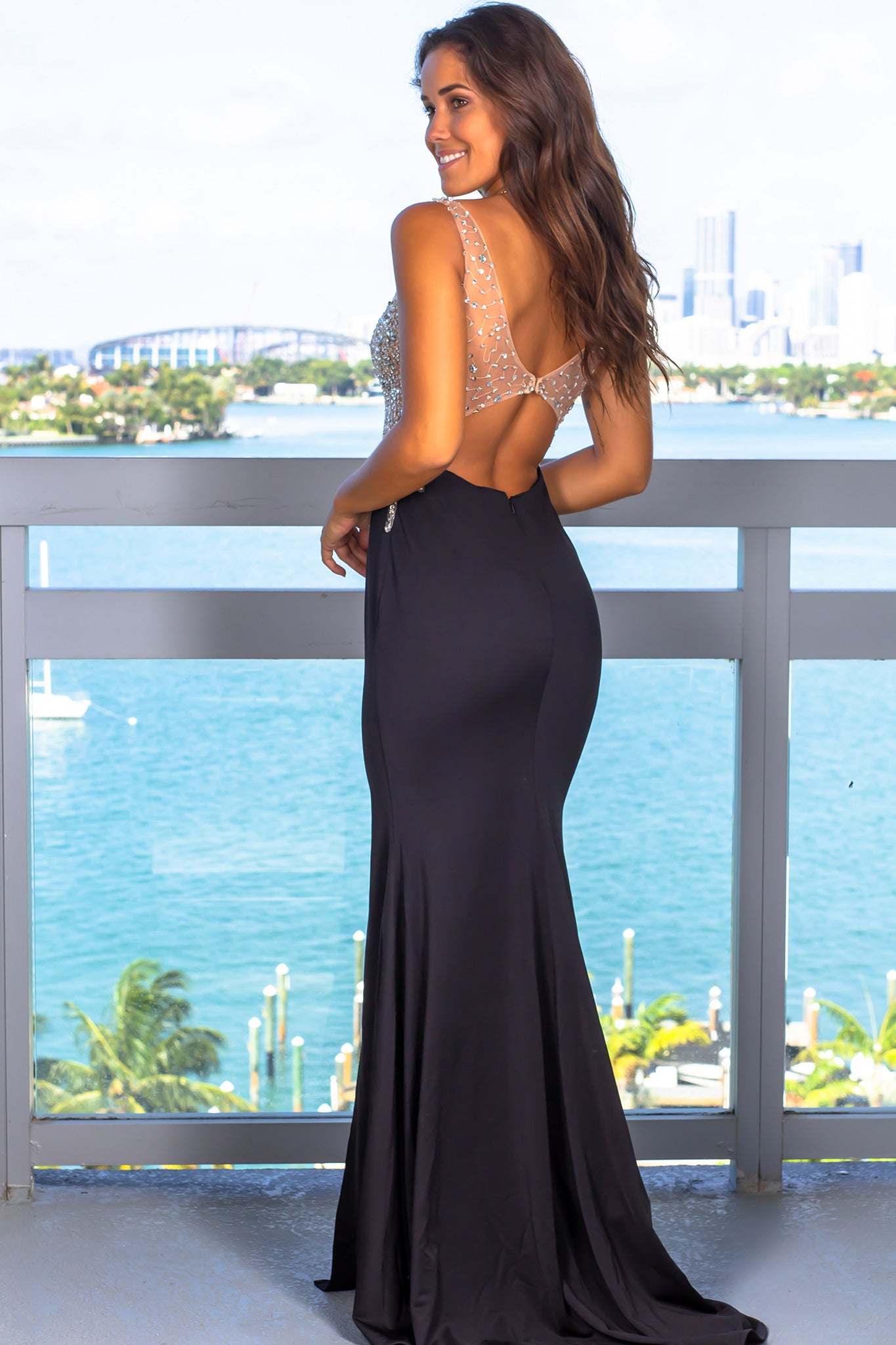 Black And Nude Jeweled Top Maxi Dress With Open Back -2560